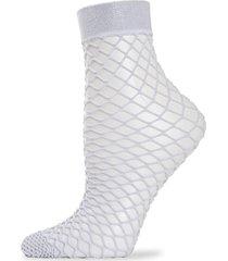 memoi women's all net glitter fishnet anklet socks - peach