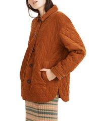 women's madewell walton quilted corduroy shirt jacket