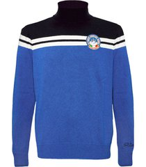 mc2 saint barth blue navy and bluette bicolor blended cashmere sweater man