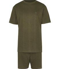 river island mens khaki ribbed t-shirt and shorts pyjama set
