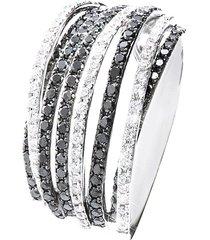 anello in oro bianco 18 kt e diamanti bianchi e neri 0,31/0,66 ct per donna