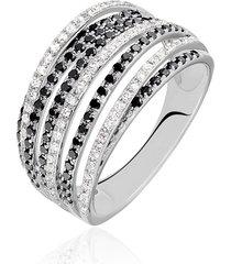 anello in oro bianco e diamanti bianchi e neri 0,31/0,66 ct per donna