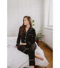 czarna klasyczna piżama długa