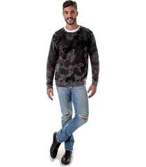 blusa de moleton opera rock careca camuflado stone washed masculina