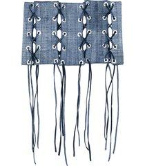 manokhi lace-up corset style belt - blue