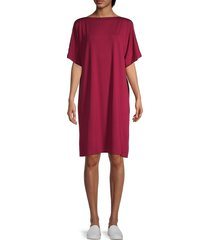 eileen fisher women's boatneck kimono-sleeve dress - hibiscus - size xl