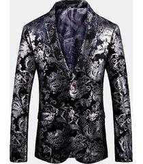 blazer da bavero da uomo per cerimonia di banchetto per matrimoni, colore argento