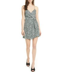 women's alice + olivia katie cheetah wrap front minidress