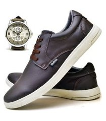 tênis sapatênis casual fashion com relógio new masculino dubuy 1401el marrom
