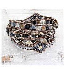 glass beaded wrap bracelet, 'country travels' (guatemala)