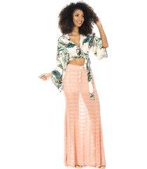 saia longa ocna brasil transparente com hot pants rosa