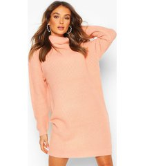 roll neck fisherman sweater dress, apricot