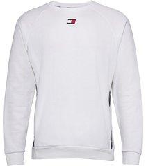 fleece tape crew sweat-shirt tröja vit tommy sport