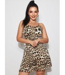vestido de tirantes de espagueti sin espalda con diseño de leopardo marrón de yoins