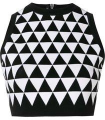 balmain top cropped com padronagem geométrica - preto