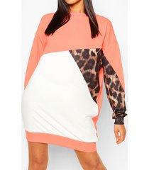 tall colour block luipaardprint sweatshirt jurk, koraal