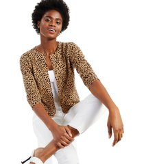 cashmere animal print long-sleeve cardigan, created for macy's