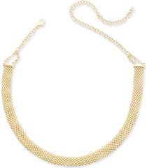 """popcorn mesh link choker necklace in 14k gold-plated sterling silver, 13"""" + 5"""" extender"""