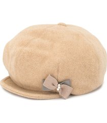 familiar bow baker boy hat - brown