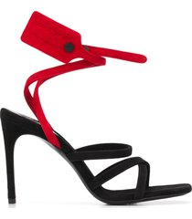 off-white zip tie strappy sandals - black