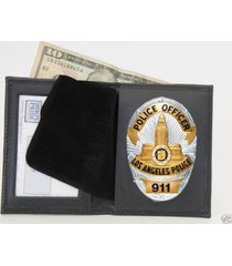 black pro leather lapd ccw cwp police badge shield id money wallet holder case
