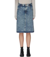 washed denim midi skirt