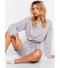 womens don't sweat it sweater and shorts lounge set - light grey