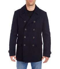 men's vince camuto water resistant wool blend peacoat, size x-large - blue