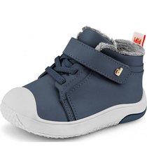 zapato con piel de peluche prewalker azul bibi