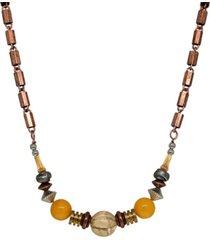 t.r.u. by 1928 copper genuine river stone quartz beaded chain necklace