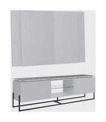 conjunto rack 2 portas e painel vesta 180cm para tv até 65 polegadas thassos/branco/preto artesano