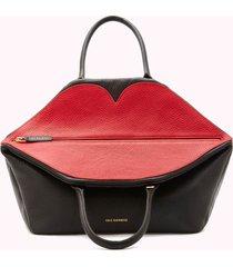 lulu guinness women's large peekaboo lip valentina tote bag - black