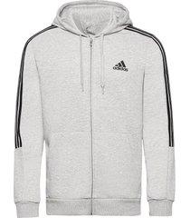 essentials fleece cut 3-stripes track jacket hoodie trui grijs adidas performance