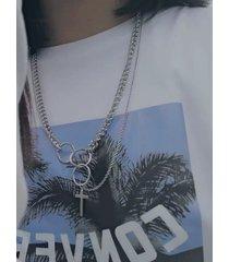 hip hop cross colgante de acero de titanio collar multicapa