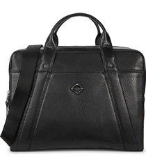 j. lindeberg men's textured leather briefcase - black
