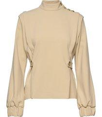 reemgz blouse ms20 blouse lange mouwen beige gestuz