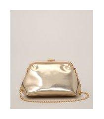 bolsa clutch metalizada com alça de corrente dourada