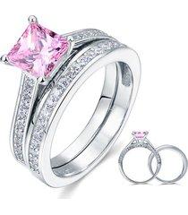 1.5 carat princess cut fancy pink created diamond 925 silver wedding ring set