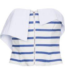 strapless stripe zip top