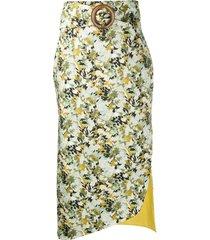 silvia tcherassi fadua buckle detail midi skirt - green