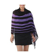 cotton shawl, 'cool stripes in violet' (thailand)