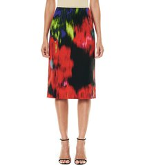 carolina herrera women's floral pencil skirt - black multi - size 8