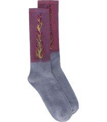 ombre flame logo socks