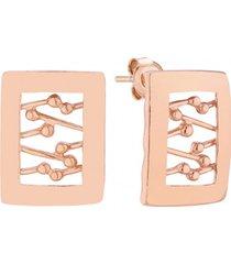 kolczyki w różowym złocie zdobione prostokąty