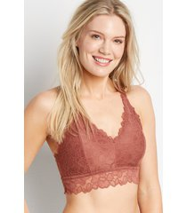 maurices womens vintage lace solid triangle back bralette brown
