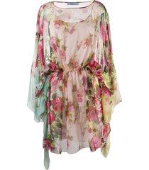 blumarine floral printed tunic dress - pink
