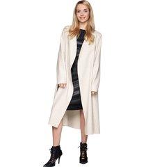 płaszcz wełniany maxi kremowy