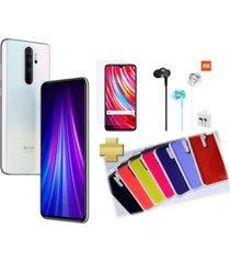 celular xiaomi redmi note 8 pro 64gb 6gb ram blanco +vidrio+audifonos+silicone case