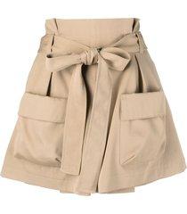 red valentino waist-tie cargo shorts - neutrals