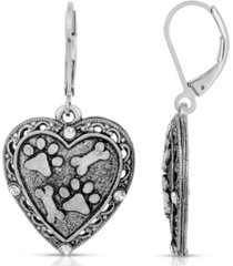 2028 silver tone heart paw and bones drop earrings